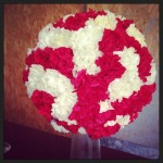 red & white carnation ball